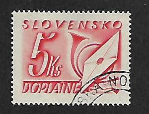 SLOVAKIA J37 USED NUMERAL LETTER AND POST HORN