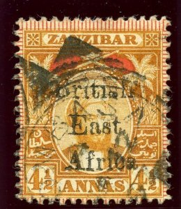 British East Africa 1897 QV 4½a orange & red very fine used. SG 83. Sc 91.