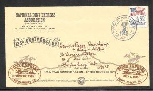 Just Fun Cover #2115 Sacramento - St Joseph Pony Express 125 Years Comm (my4429)
