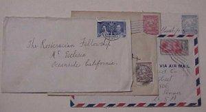 BARBADOS  5 SMALL COVER 1926-1949  TO USA