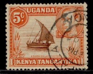 KENYA UGANDA TANGANYIKA GVI SG133, 5c reddish brown & orange, FINE USED.