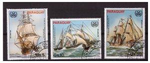 PARAGUAY 1982 Sail ships 3 values set CTO