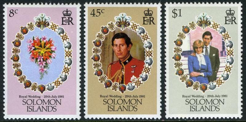 Solomon Islands 450-452,MI 444-446,MNH. Royal wedding.Charles,Diana.Flowers,1981