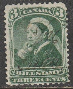 Canada / Taxe  Bill Stamp   FB40   O    (Le $0.03)    (1868)