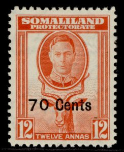 SOMALILAND PROTECTORATE GVI SG131, 70c on 12a red-orange, M MINT.