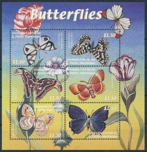 [108987] Carriacou & Petite Martinique 2000 Butterflies moth Mini sheet MNH