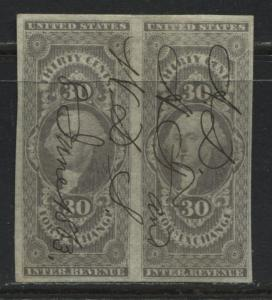 United States 1862 30 cents gray Foreign Exchange revenue imperforate pair used