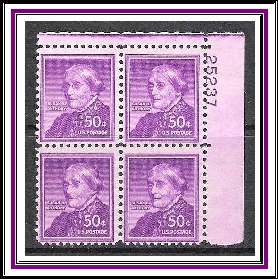 US Plate Block #1051a Susan B Anthony MNH