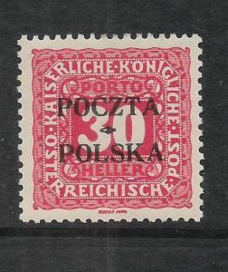 POLAND  1919  30h  POSTAGE DUE  MLH  SIGNED   Sc J6  CV $1500
