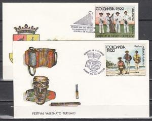 Colombia, Scott cat. 880-881. Festival Musicians issue. 2 First day covers.