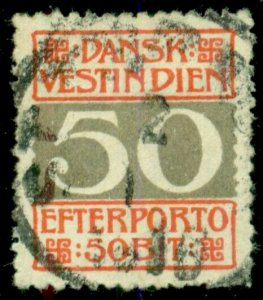 DANISH WEST INDIES #J8a (L8c2), 50Bit, p.14x14½, used w/proper cancel Facit $300