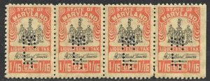 US STATE REVENUES MARYLAND 1951 1/16pt LIQUOR TAX STRIP OF 4 MH PERFIN TR.L54