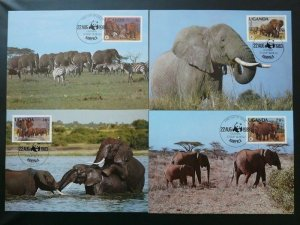 elephant wwf 1983 set of 4 maximum cards Uganda 71809