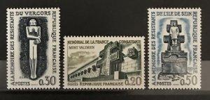 France 1962 #1029-31, MNH, CV $1.85