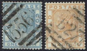 GOLD COAST 1876 QV 1D AND 6D WMK CROWN CC USED