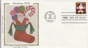 1979, Christmas-Santa in Socking, Colorano Silk, FDC (D12587)