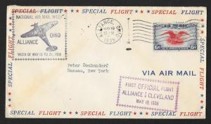 UNITED STATES First Flight Cover 1938 Alliance to Cleveland