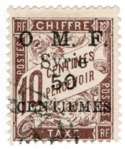(I.B) France Colonial Postal : Syria Post Tax 50pi (OMF overprint)