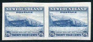 Newfoundland SG228a 1932-37 24c bright blue Horizontal Pair Variety Imperf M/M