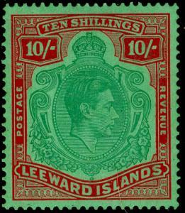 LEEWARD ISLANDS SG113, 10s bluish green & dp red/green, LH MINT. Cat £200. ©