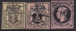 HANNOVER GERMANY - an old forgery of a classic stamp - 3 stamps.............5334