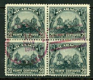 Nicaragua 1914 Cathedral 20¢ Slate Block VFU  O670