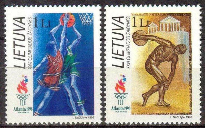 Lithuania 1996 Olympics Games Atlanta Basketball Discus set of 2 MNH