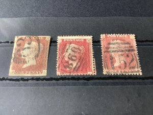 Great Britain penny Red The Three Types 1841 1854 1858  used Stamps  57125