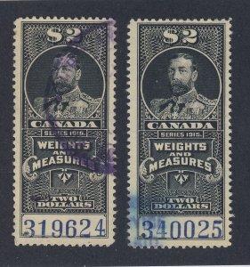 2x Canada Revenue W&M Stamp; #FWM59-$2.00 & FWM59a-$2.00. F/VF Used