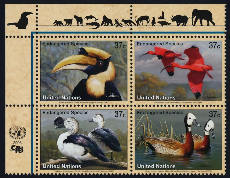 United Nations - New York 845a TL Block MNH Goose, Ibis, Duck Toucan