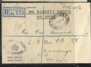 GOLD COAST (P2708B)  1946   OHMS STAMPLESS REG TO NAVRONGO