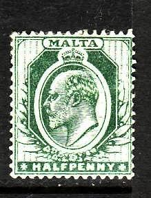 Malta-Sc#30- id2-unused hinged 1/2p green KEVII-1904-11-