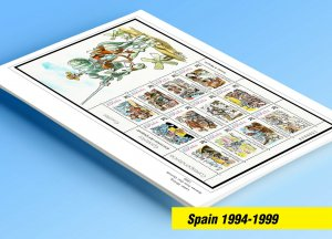 COLOR PRINTED SPAIN 1994-1999 STAMP ALBUM PAGES (58 illustrated pages)