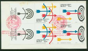 MEXICO 1619a, FDC Pair, WITH TWO LABELS.  Archery Championships. F-VF.