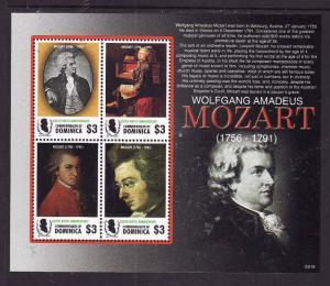 Dominica-Sc#2584-Music-Unused NH sheet-Mozart-2006-