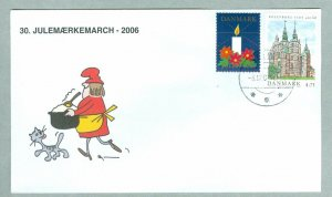 Denmark. Cover Cachet Cat,Santa. # 30  Christmas Seals Walk 2006. Holbaek.