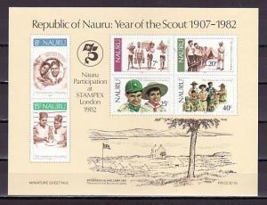 Nauru, Scott cat. 249 A. Scouting Year s/sheet.