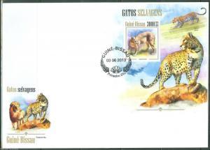GUINEA BISSAU 2013 WILD CATS  SOUVENIR SHEET FIRST DAY COVER