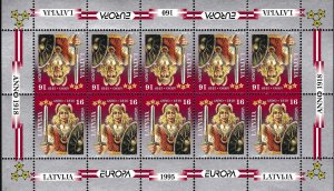 Latvia 1995 Europa Sheets of Ten (10) Folklore Mi. 414-415 XF/NH/(**) Immaculate