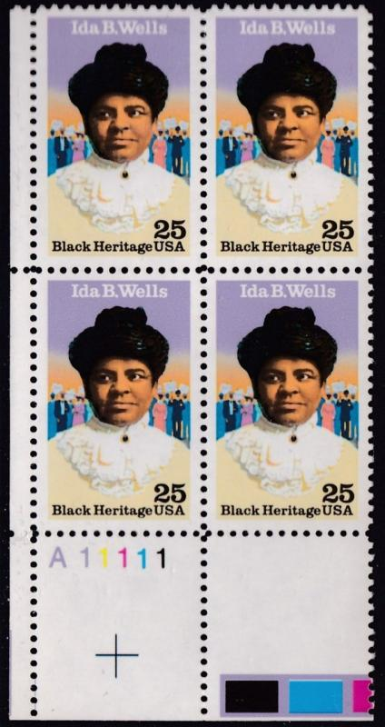 United.States 1990 Black Heritage Ida B. Wells Plate Nr. Block VF/NH
