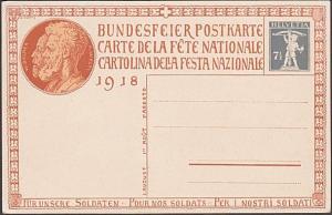 SWITZERLAND 1918 7½c National Fete postcard unused.........................54139