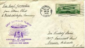 USA #C18 GRAF ZEPPELIN AKRON GERMANY Flight Century Progress Exposition Cover