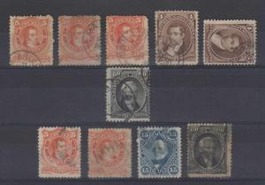 ARGENTINA 1867-73 ABNCo ISSUE CHOICE CANCELS ON 10 STAMPS RIOJA, PARANA, ARECO+