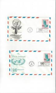 United Nations UC8, Air Mail Envelope,  2 FDC, ArtCraft & Fleetwood