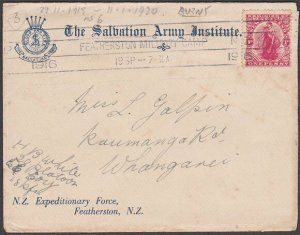 NEW ZEALAND 1916 Salvation Army cover - Featherston Military Camp cancel....B416