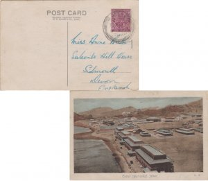 Aden India 2a KGV 1934 Aden PPC (Crater (Barracks), Aden) to Sidmouth, Englan...