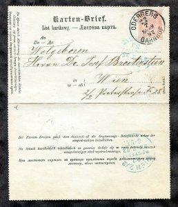3291 - AUSTRIA Oderberg Bahnhof 1892 Cancel on Karten-Brief. Letter Card Czechia