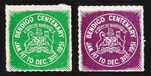 REKLAMEMARKE POSTER STAMPS BENDIGO CENTENARY AUSTRALIA CITY OF BENDIGO 1951