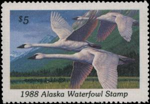 ALASKA #4 1988 STATE DUCK TRUMPERTER SWAN by Jim Beaudoin