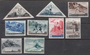 J28169 1953 san marino set mh #327-34 sports